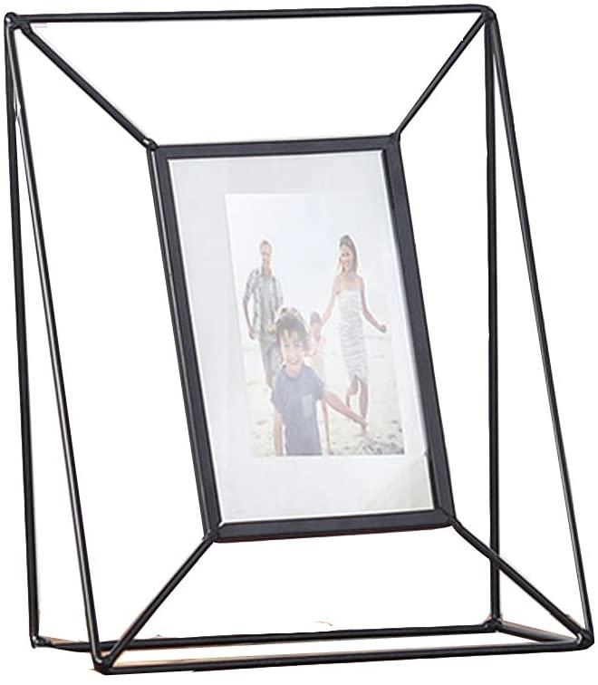ThreeH Photo Frame Geometric Metal Rotating Folding Stereo Glass Photo Frame