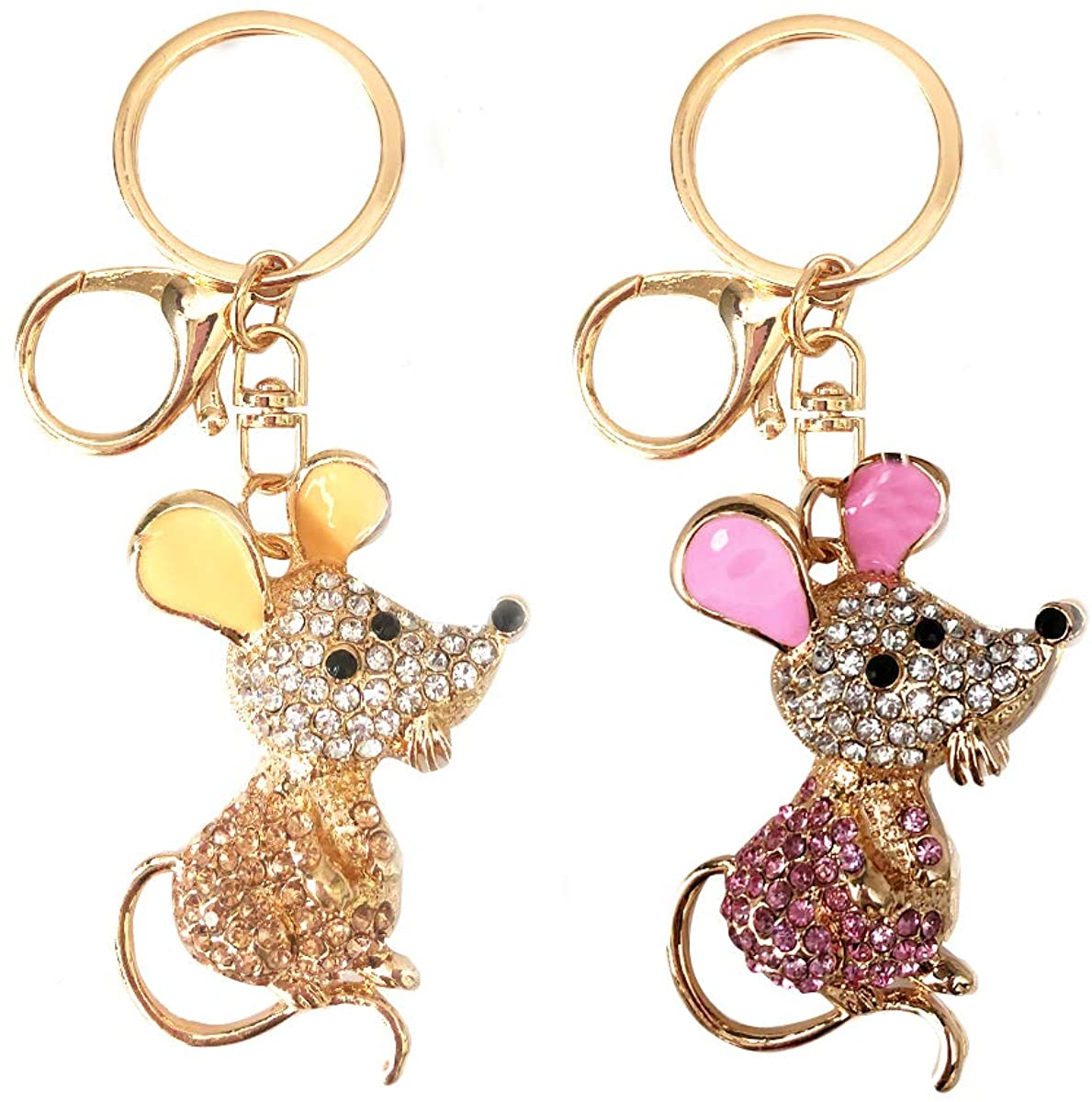 Pack of 12 Mouse Charm Rhinestone Key-chain Accessory for Bags, Handbag, Purse, Car, Keyrings