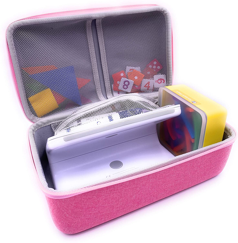 Xcivi Hard Carrying Case for Osmo Fire Tablet Little Starter/Genius Starter Kit with Fire Tablet Base, Storage Organizer for OSMO Fire Base /Numbers/Words/Tangram (Pink)