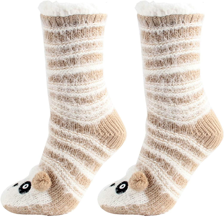 Women's Winter Super Soft Warm Cozy Fuzzy Fleece-Lined Grippers Slipper Socks