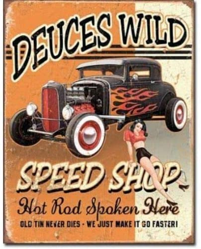 SRongmao Deuces 32 Ford Wild Speed Shop Hot Rod Distressed Retro Vintage Look Metal Tin Sign 16x12in