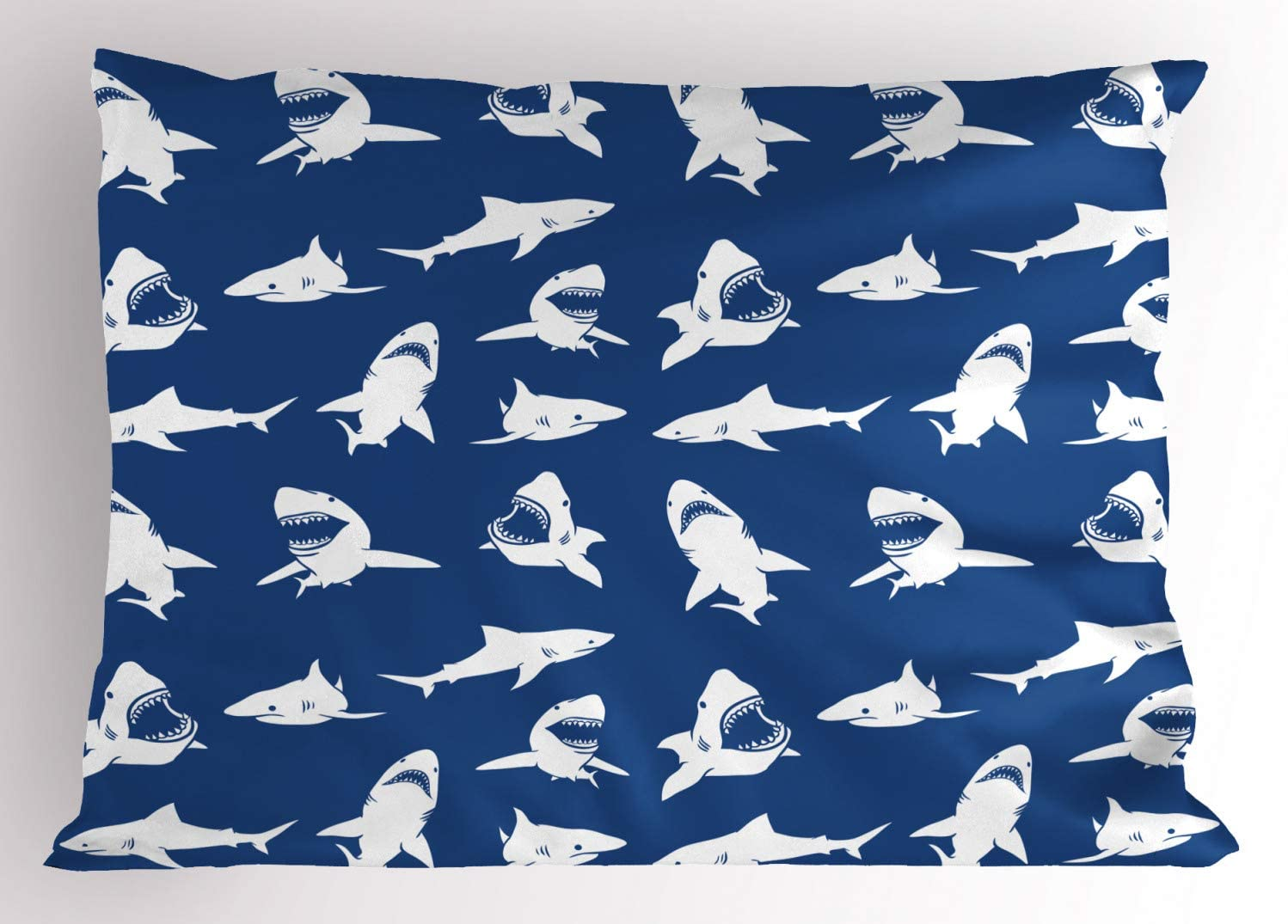 Ambesonne Shark Pillow Sham, Shark Pattern with Various Gestures Have a Bite Danger Humor Nautical Design, Decorative Standard Size Printed Pillowcase, 26