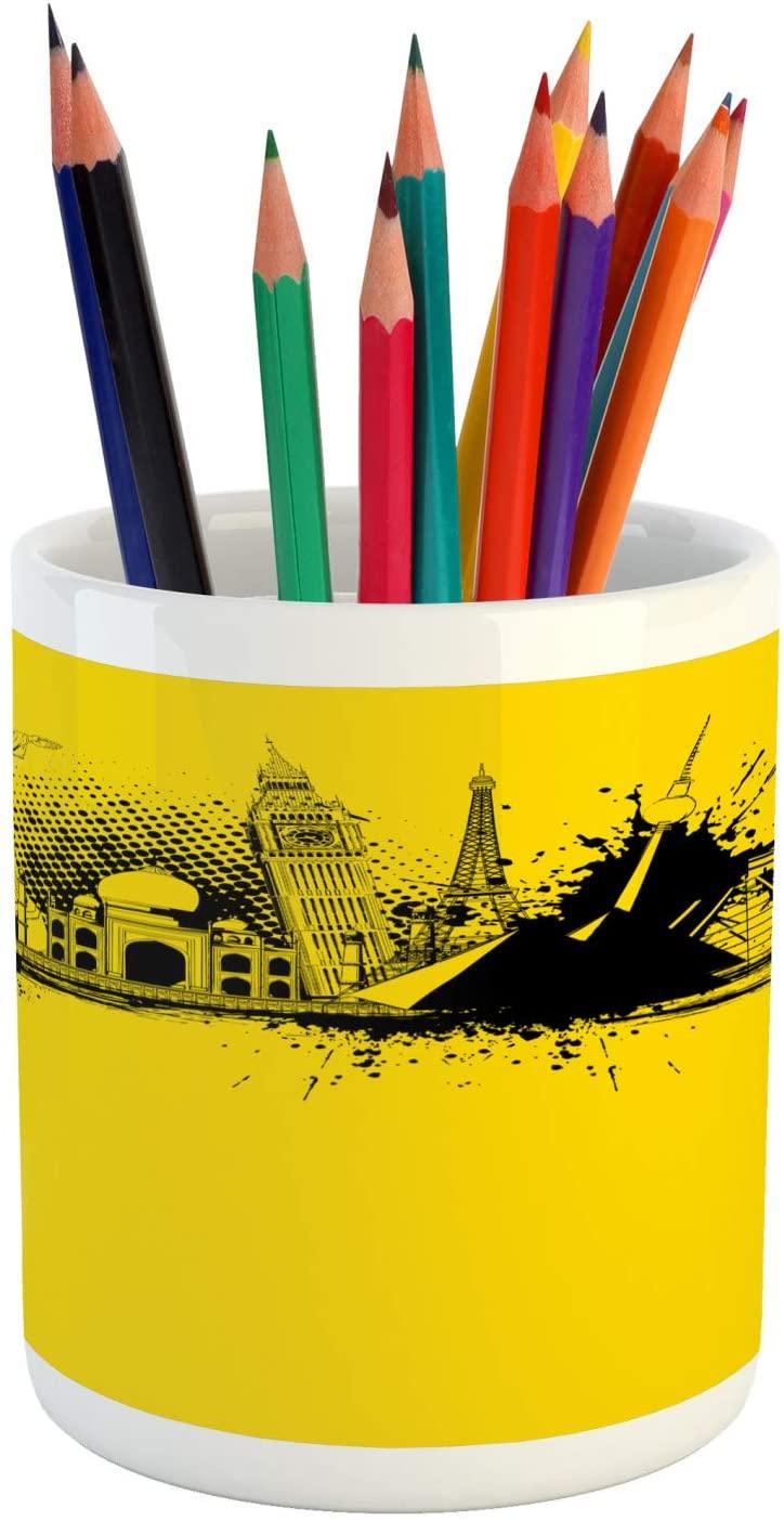 Lunarable World Pencil Pen Holder, Worlds Famous Monuments Grungy Big Ben Eiffel Taj Mahal Lady Liberty, Ceramic Pencil Holder for Desk Office Accessory, 3.6