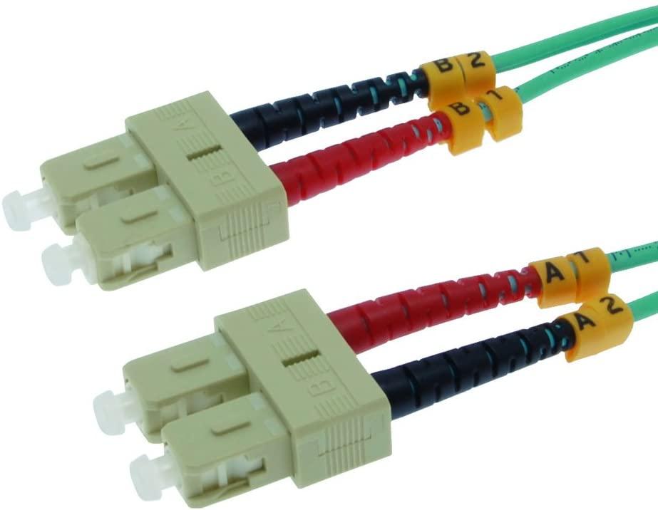 GOWOS 3m SC-SC 10Gb 50/125 OM3 M/M Duplex Fiber Cable Aqua Jacket