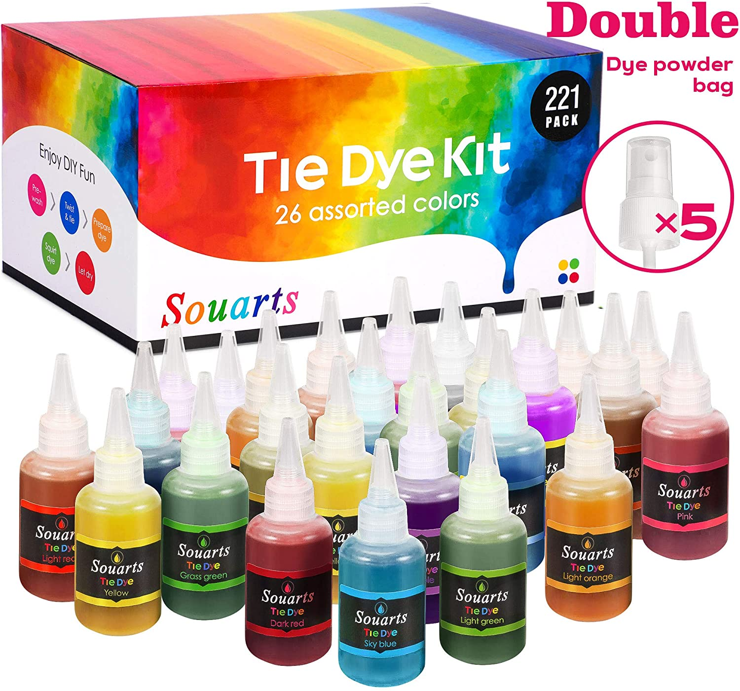 DoreenBow Tulip Tie Dye,26 Colors Tie Dye Kits for Adults, Kids, DIY Tie Dye Kit with Rubber Bands Gloves and Table Covers for Craft Arts Party Handmade Project