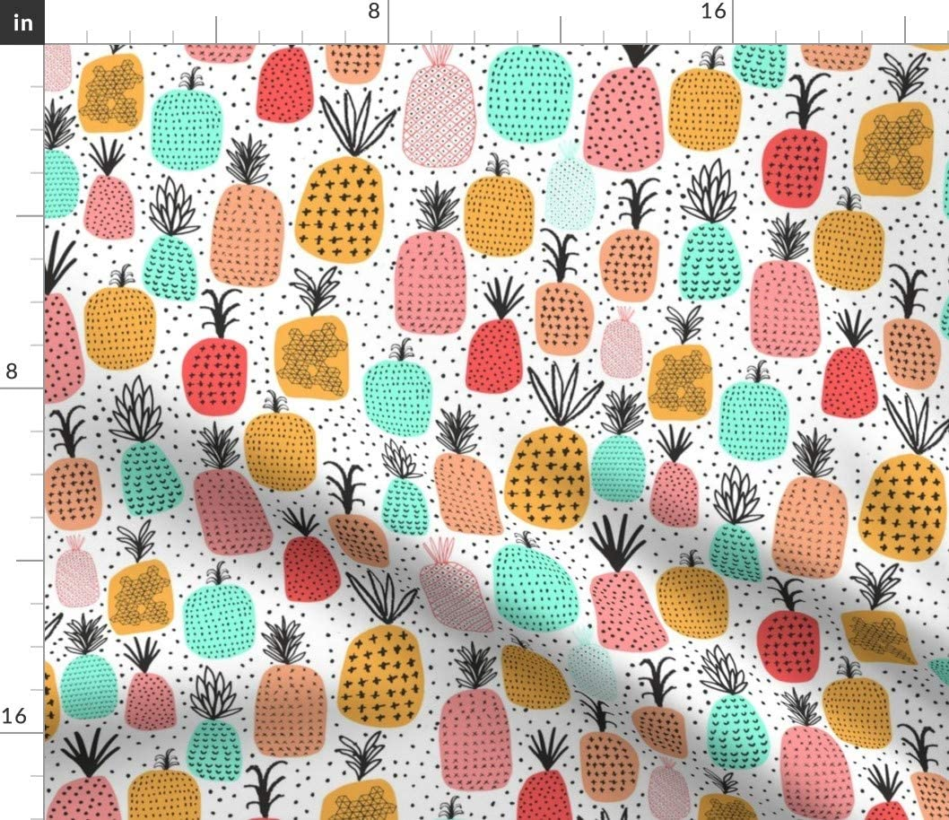 Spoonflower Fabric - Pineapples Pineapple Fruit Pattern Bright Geometric Summer Foods Cute Printed on Petal Signature Cotton Fabric by The Yard - Sewing Quilting Apparel Crafts Decor