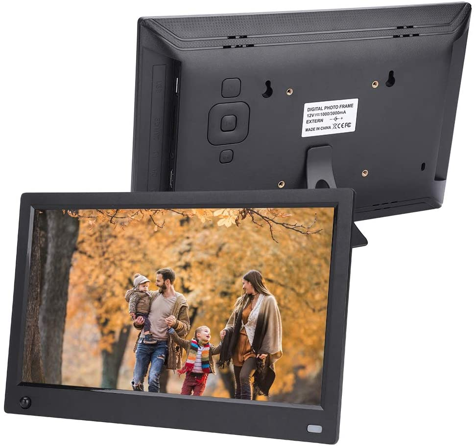 19201080 Multi-Functional Digital Photo Picture Frame,11.6in HD Screen MP3/4 Music Video Player with Human Body Motion Sensor Function(Black US Plug)