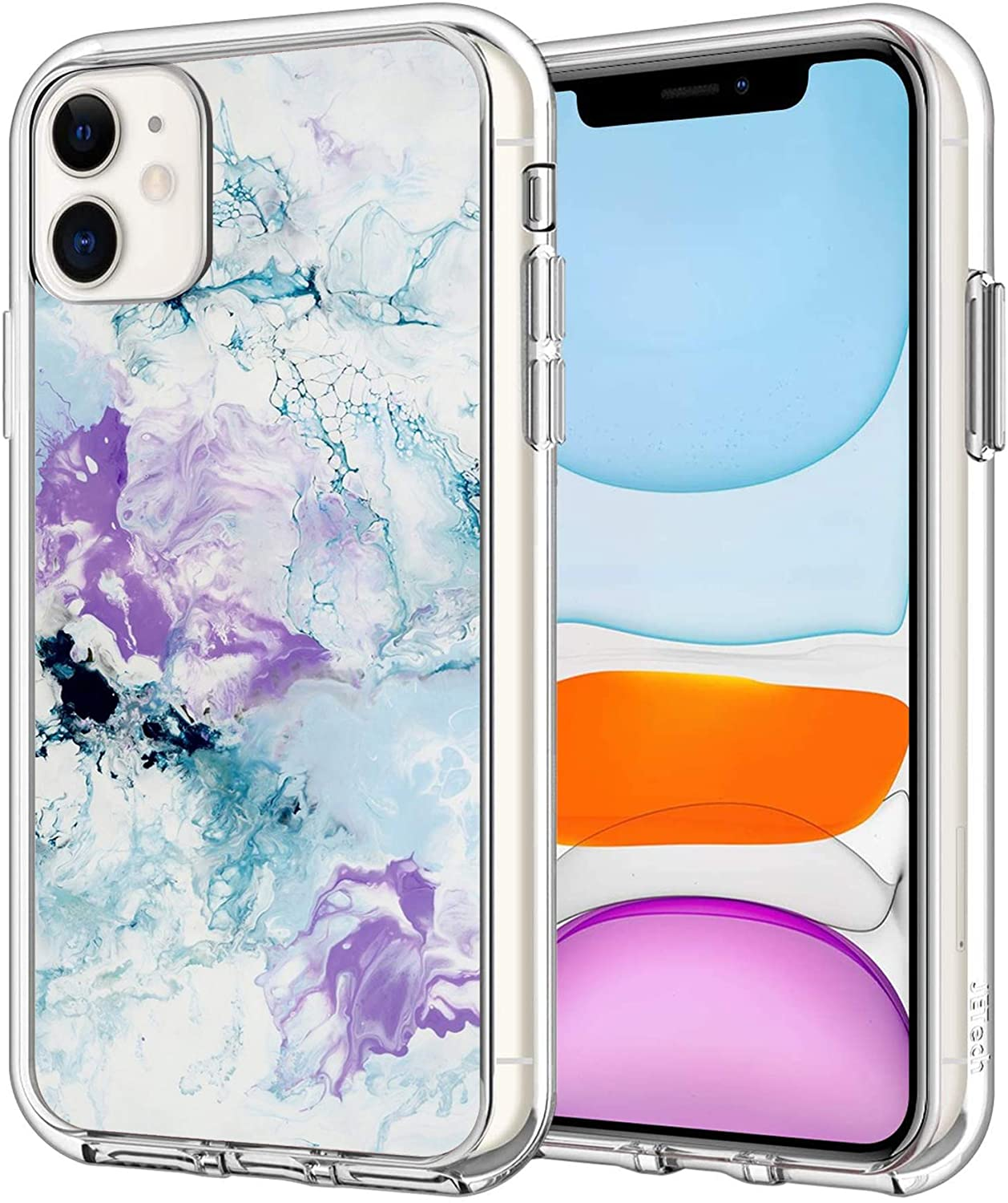 iPhone 11 Case Hygienically Marble Clear Transparent case with a Personality Pattern Explosion-Proof (Marble 2)