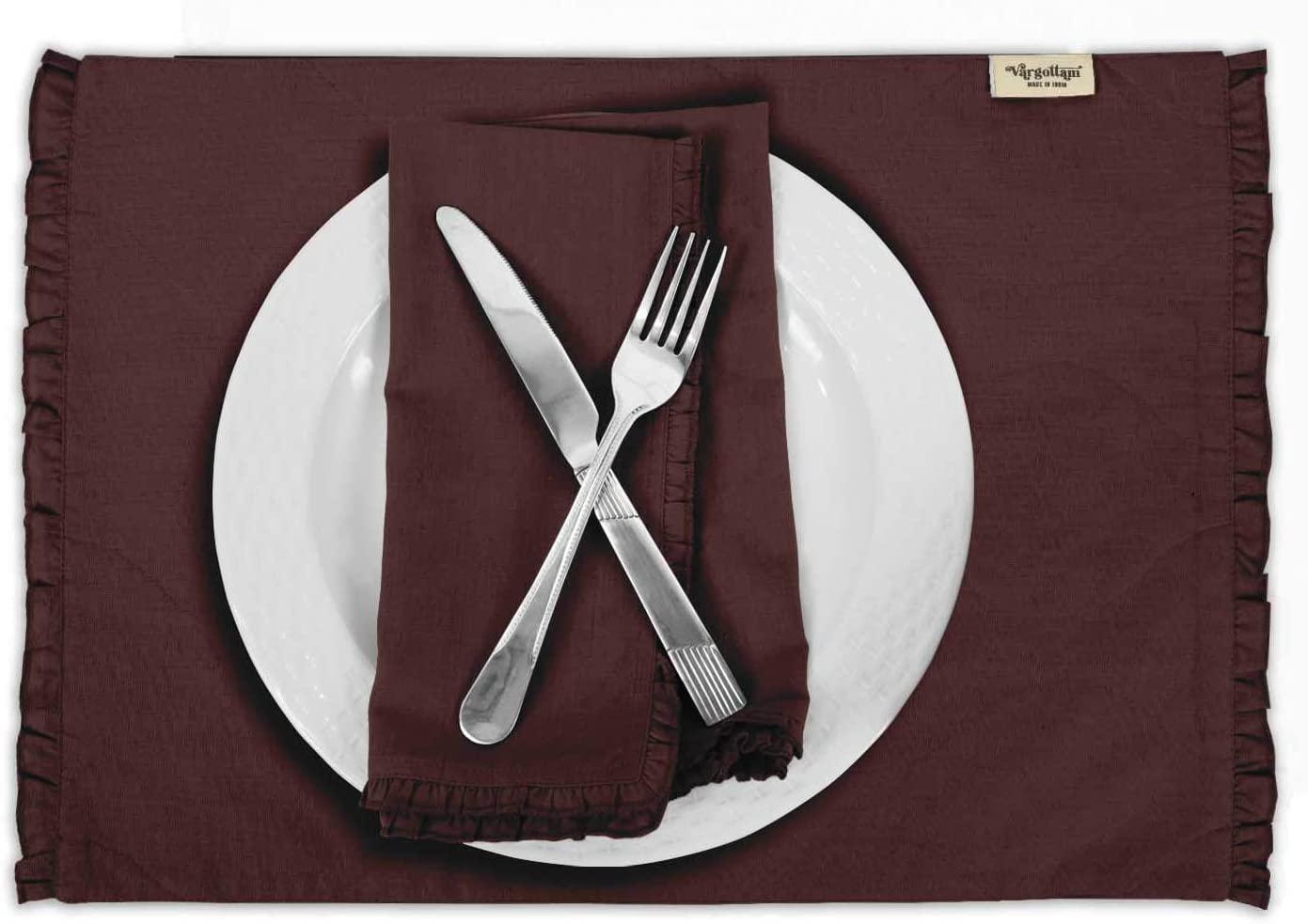 Vargottam Wine Home Décor Washable Dining Table Mats Reversible Cotton Flex Frill Placemat-Set of 6
