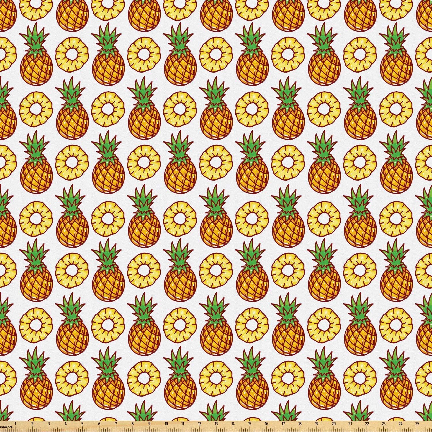 Lunarable Pineapple Fabric by The Yard, Ripe Pineapple Pattern Delicious Nutrient Vegetarian Vegan Illustration, Microfiber Fabric for Arts and Crafts Textiles & Decor, 1 Yard, Cinnamon Mustard