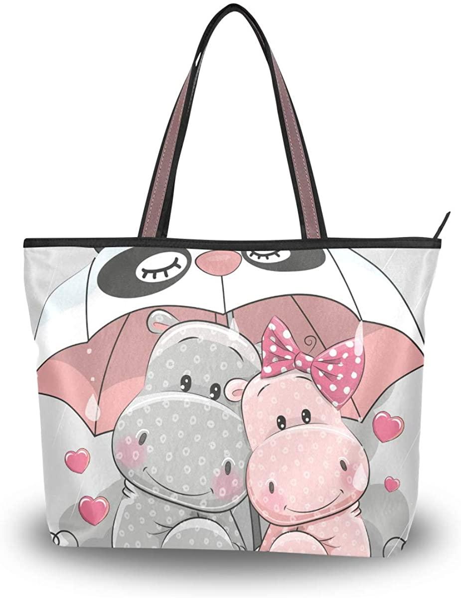 Woman Tote Bag Couple Hippo Panda Umbrella Shoulder Handbag for Work Travel Business Beach Shopping School