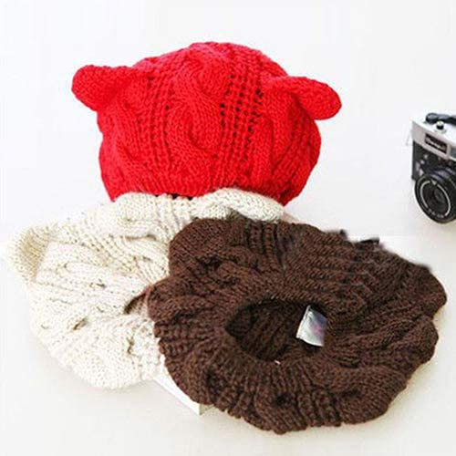 MoO1deer Beret, Wool Beret Hat, Womens Solid Color Beret, Women's Winter Fashion Lovely Cat Ear Crochet Knitted Ski Woolen Cap Beanie Hat for Fall or Winter Red