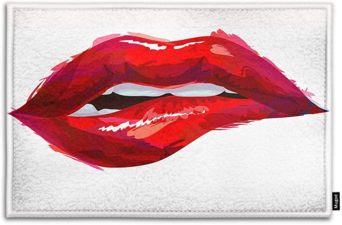 Mugod Red Lip Indoor/Outdoor Doormat The Woman's Sexy Red Biting Lips Funny Doormats Bathroom Kitchen Decor Area Rug Non Slip Entrance Door Floor Mats, 15.7