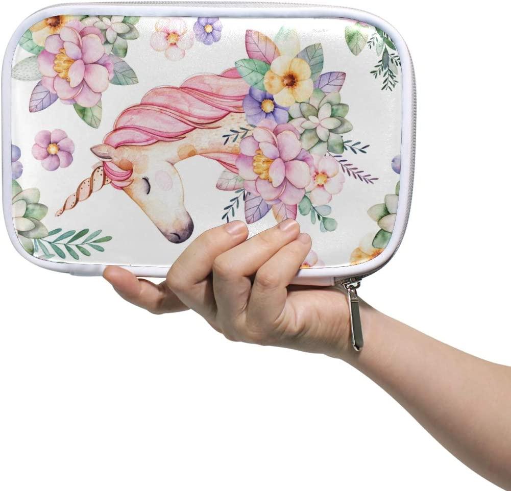 HAIIO Pencil Bag Watercolor Animal Unicorn Flower Pen Case School Supplies Large Capacity Cosmetic Makeup Bag with Zipper for Women