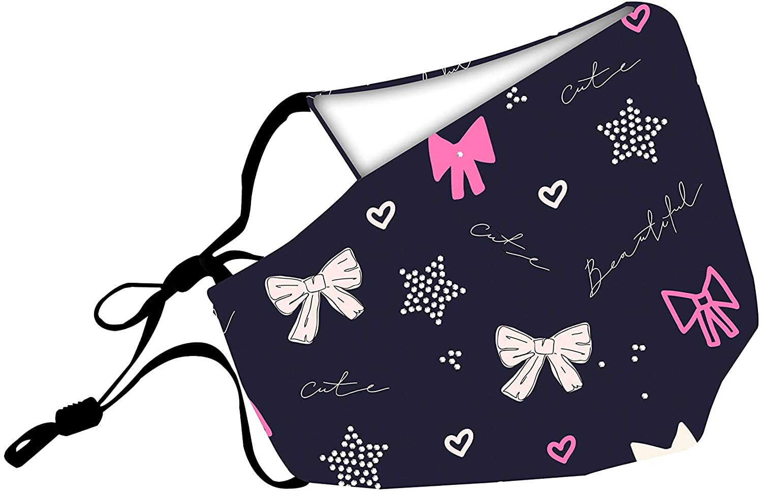 Viva Care 3 Layers Reusable Soft Cotton Face Mask | Deep Blue Girly Doodle Printed Protective Washable Fashion Masks | Adjustable Nose Bridge & Ear-Loops Breathable Mouth Cover-4 Free Filters