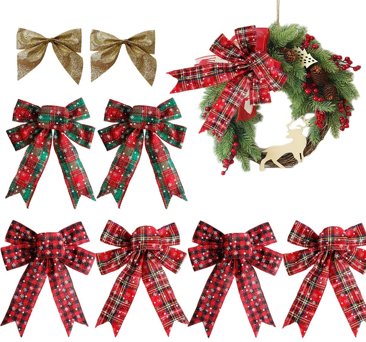 Intelligence 8 Pcs 10.2 x 12.6 inch Christmas Plaid Bows, Red Buffalo Plaid Bows, Enlarge Christmas Wreath Bow White Snow Bow for Outdoor Christmas Ribbon Christmas Tree Crafts DIY Bow Decoration