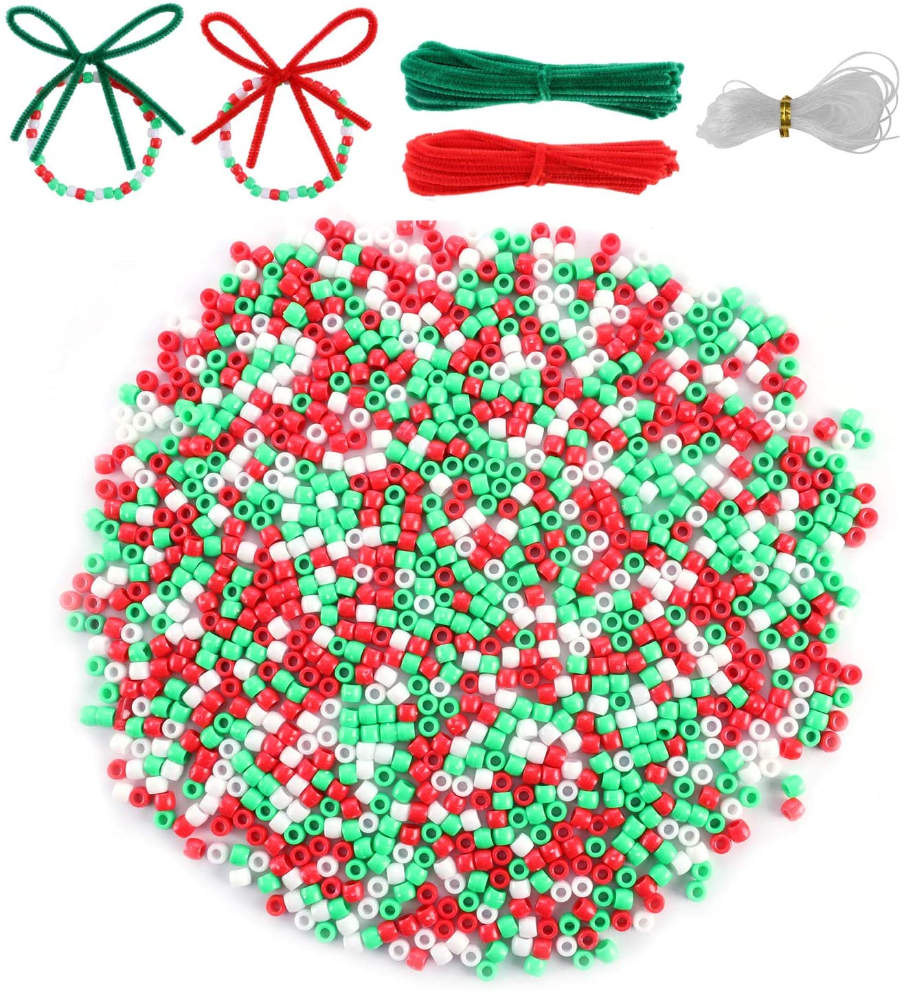 Christmas Pony Beads, 1200pcs Plastic Pony Beads Assorted Opaque Craft Beads Christmas Round Beads for DIY Bracelet Necklace Key Chains Jewelry Making Craft Decorations, with Bead Twine&Chenille Stems