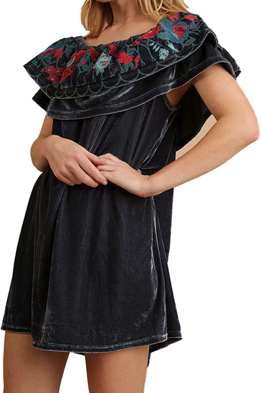 Umgee USA Off Shoulder Velvet Dress Embroidered Detail