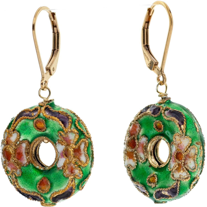 Floral Cloisonnne Enamel Hoop Drop Earrings