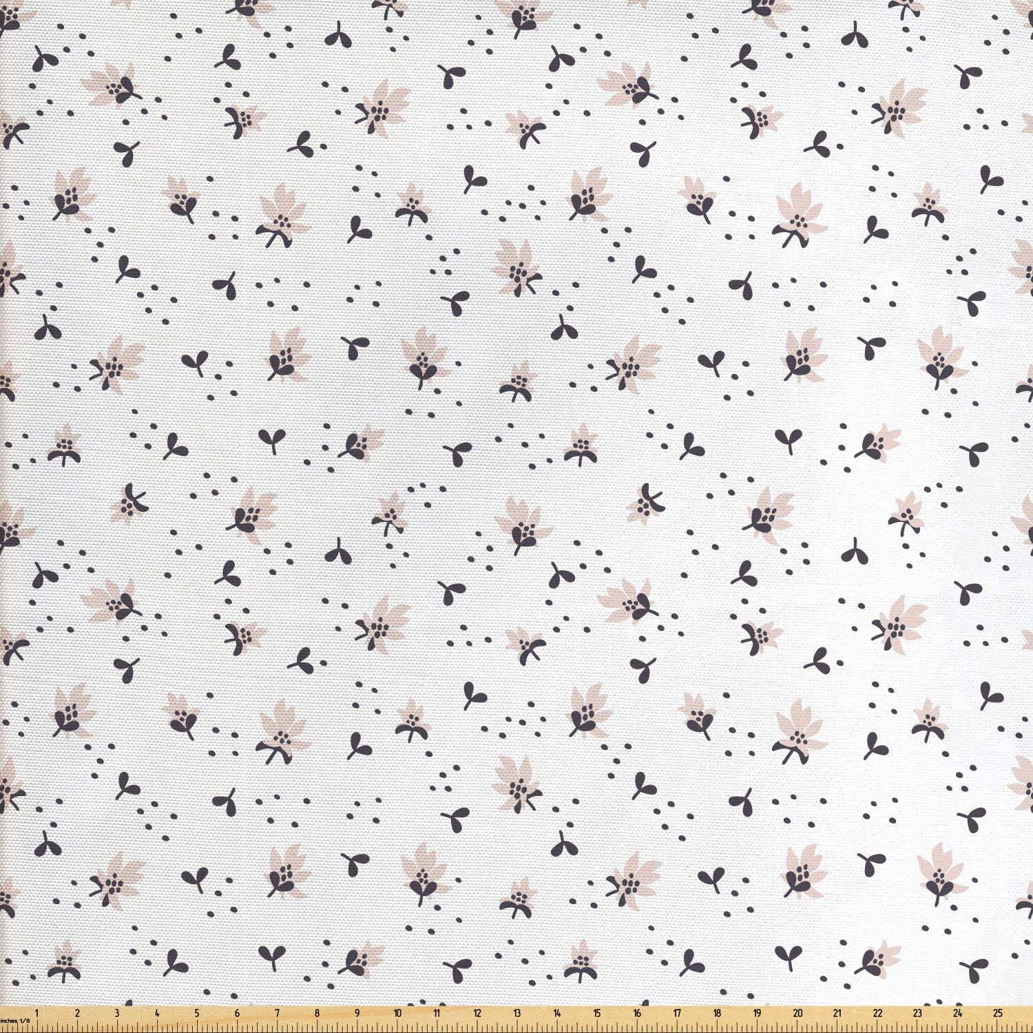 Ambesonne Jasmine Fabric by The Yard, Pastel Simplistic Spring Art with Abstract Flowers Leaves and Dots, Decorative Fabric for Upholstery and Home Accents, 1 Yard, White Purple Grey