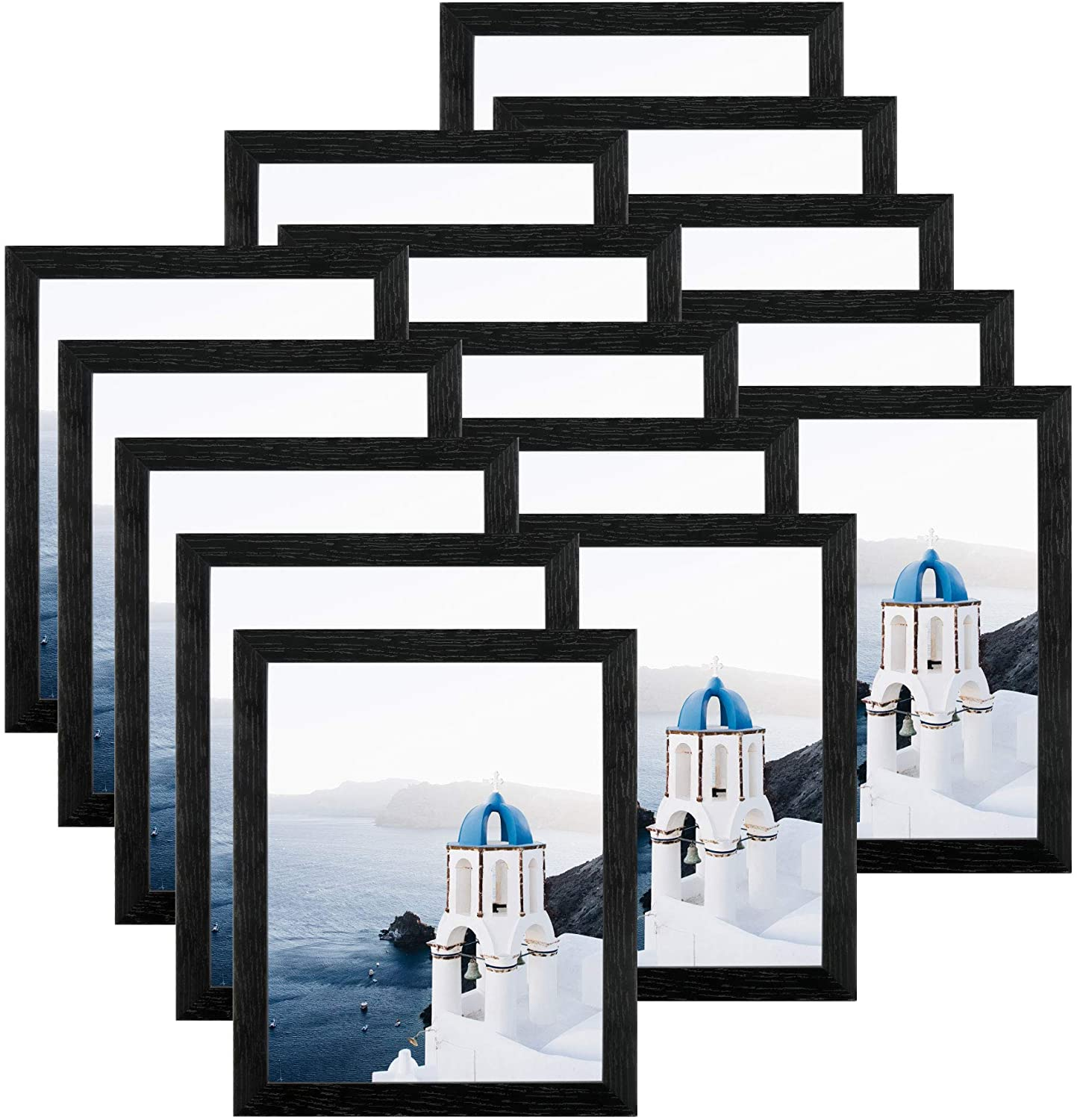FRAME YI 15 Pack 8x10 Black Picture Frames - Wall Display - Tabletop Display - Hanging Hardware - Easel Backs Included