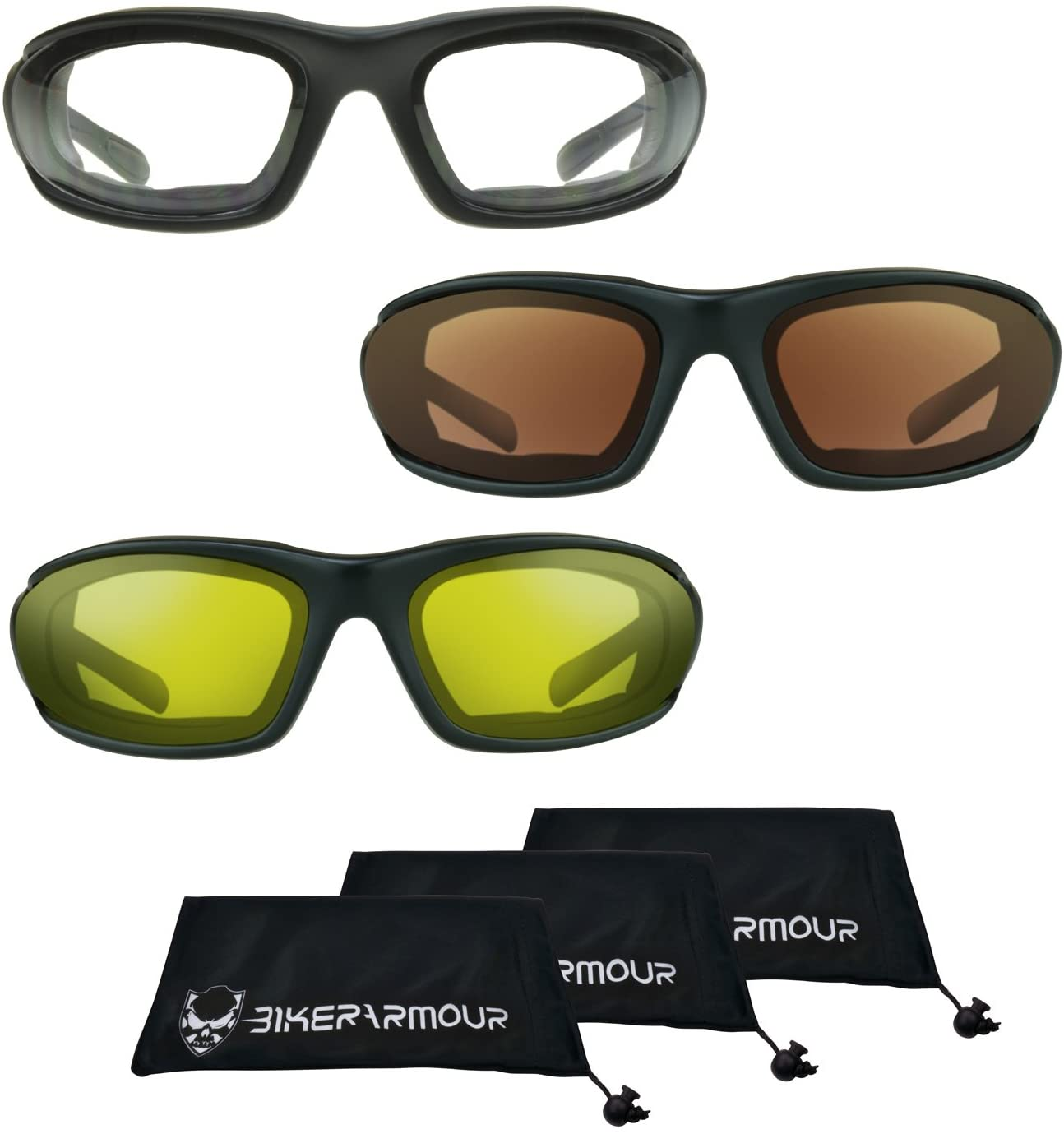 Motorcycle Glasses Foam Padded 3 pairs combo special