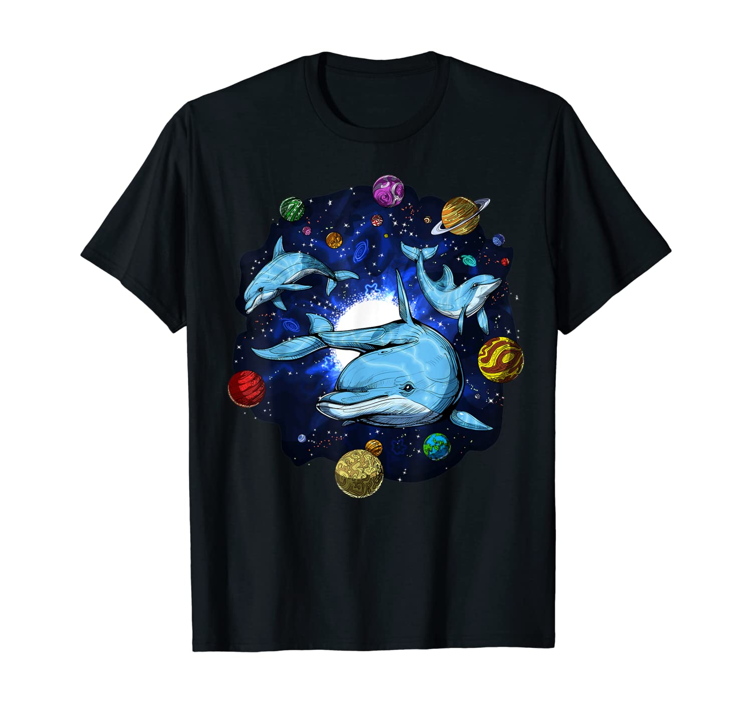Space Dolphins Psychedelic Cosmic Planets Fantasy Ocean T-Shirt