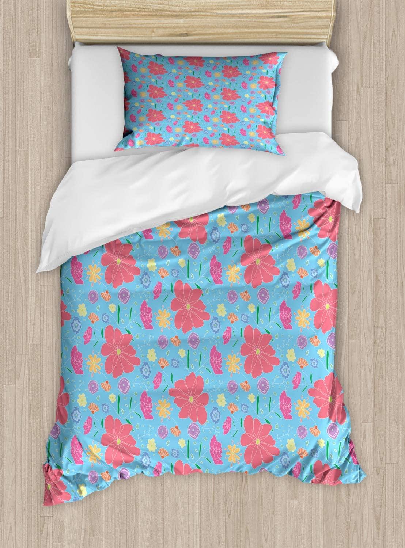 Lunarable Botanical Duvet Cover Set, Floral Theme Various Flower Motifs Colorful Blossoms Spring Art, Decorative 2 Piece Bedding Set with 1 Pillow Sham, Twin Size, Sky Blue and Multicolor