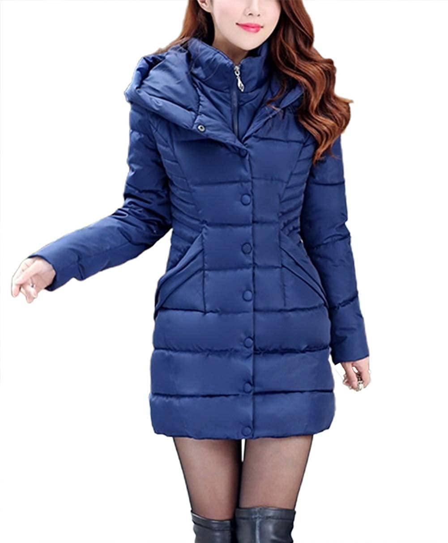 chouyatou Women's Winter Quilted Hooded Midi Long Alternative Down Coat with Bib