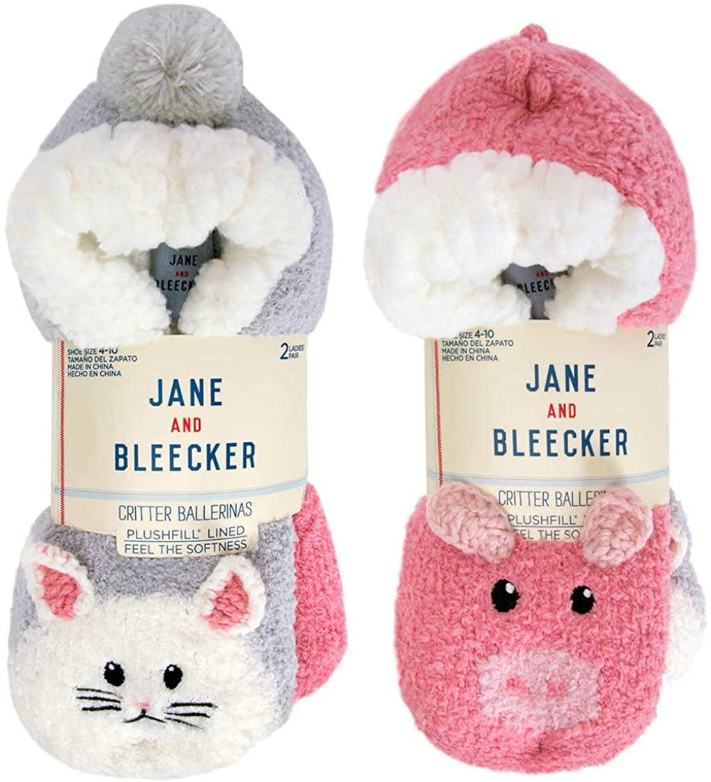 Jane & Bleecker Ladies' Critter Sock, 2-pair, non skid slipper socks