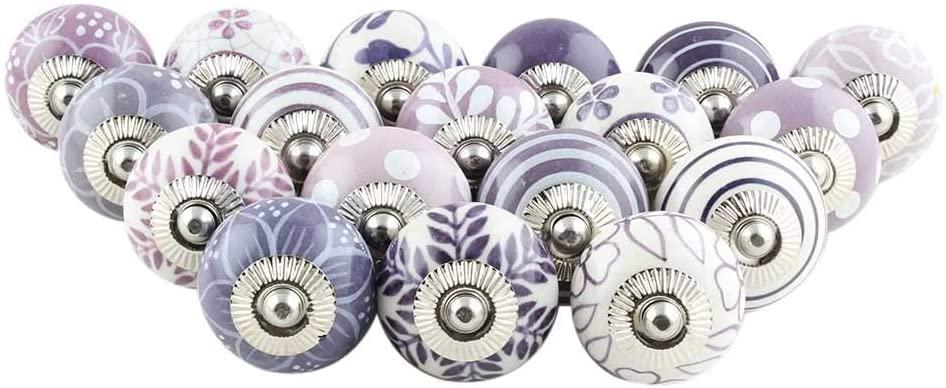 IndianShelf Handcrafted Assorted Pack of 15 Artistic Purple Knobs Design Drawer Knobs Handles Ceramic Cabinet Dresser Pulls Cupboard Designer Gift