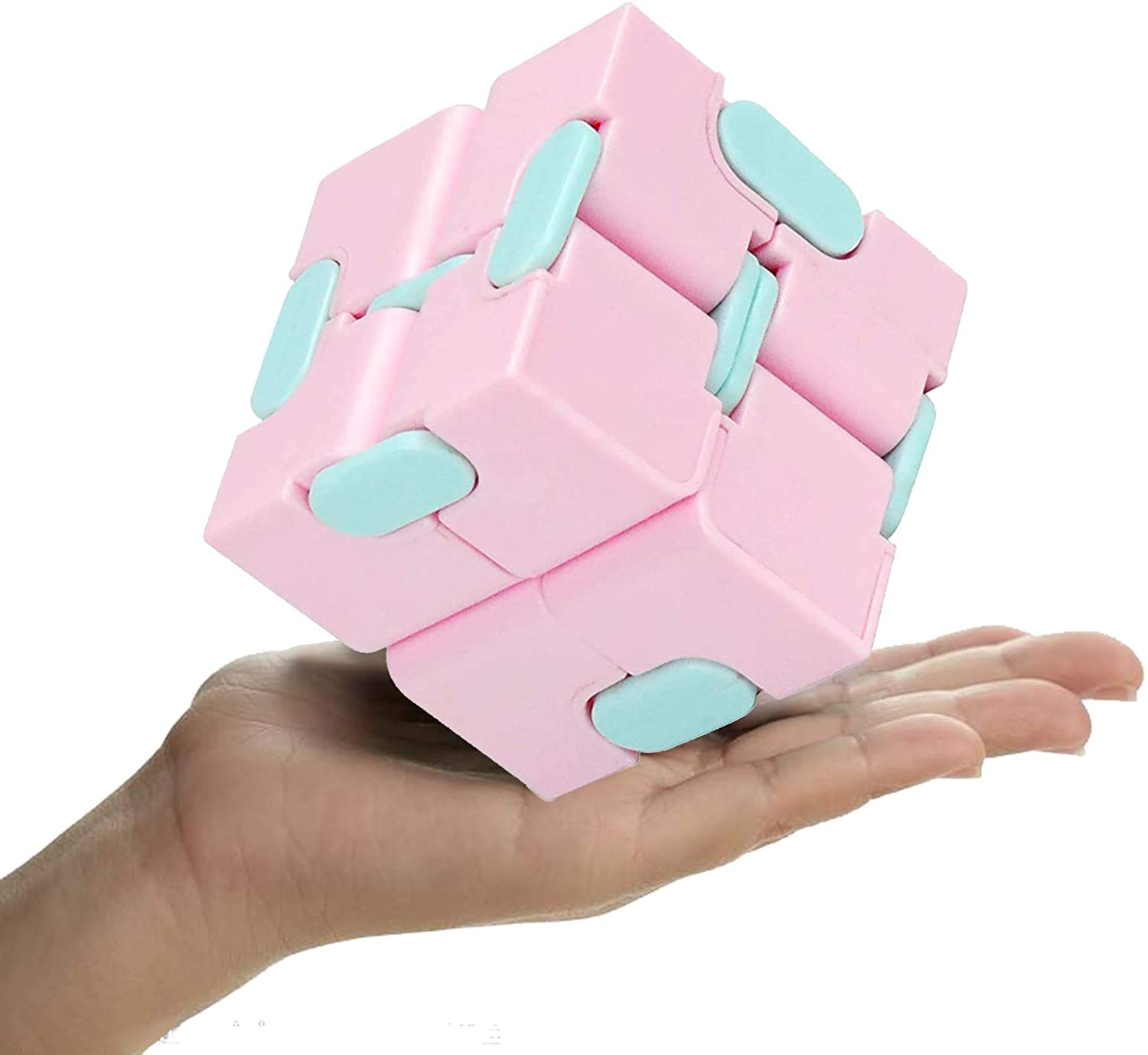 snow keychain Infinity Cube Fidget Toy, Sensory Stress Relief Decompression Fidget Finger Toys, Sensory Tool Magic Cube for Kids and Adults Infinite Cube for Kids Adults Office 1 pcs Pink