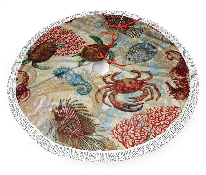 antcreptson Sea Art Turtle Crab Christmas Tree Skirt in Design for Christmas Trees Christmas Decorations Indoor, 36