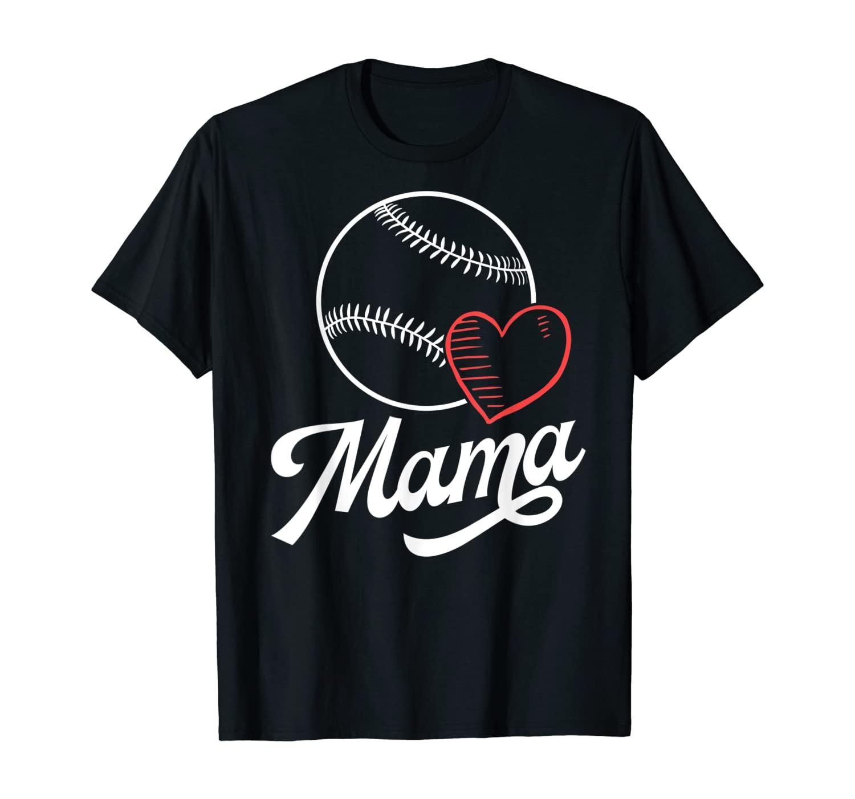 Baseball Mama Shirts For Women Heart Son Daughter School T-Shirt