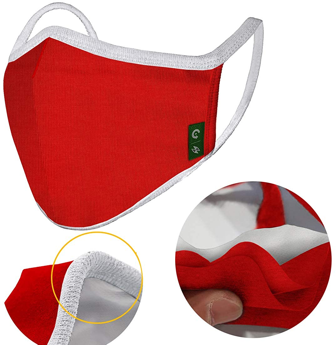 CHRISTMAS Version Unisex Cloth Washable Reusable Cover - Symbol colors 100% Cotton 3-Layer Cover for Dust Particle & Droplet & pollen Protection - Dust Warm Cover Red