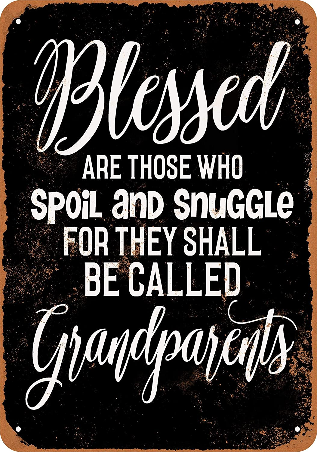 Nxsbns Blessed Grandparents (Black Background) Metal Tin Sign 12 X 8 Inches Vintage Wall Decor