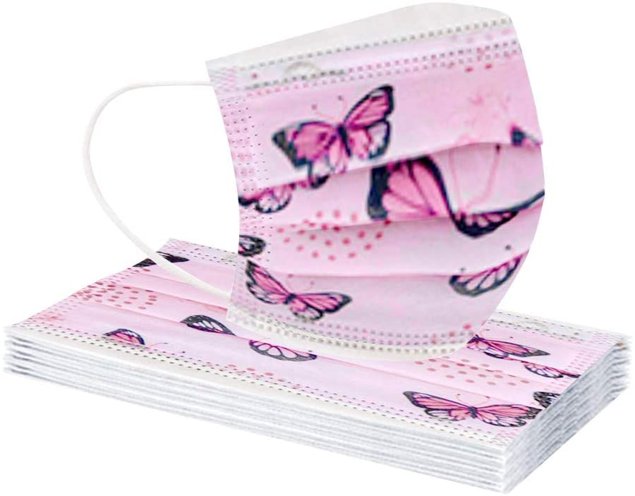 10/20/30/40/50/100 Pcs Cute Butterfly Pattern Disposable Adult/Kid Size Face Bandana, 3ply Ear-Hook Type Adult and Child Outdoor Safety Protection (Adult, 10 Pcs)