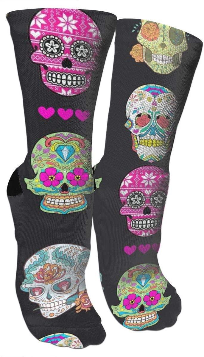 antspuent Sugar Skull Compression Socks Unisex Fun Novelty Crazy Dress Crew Socks