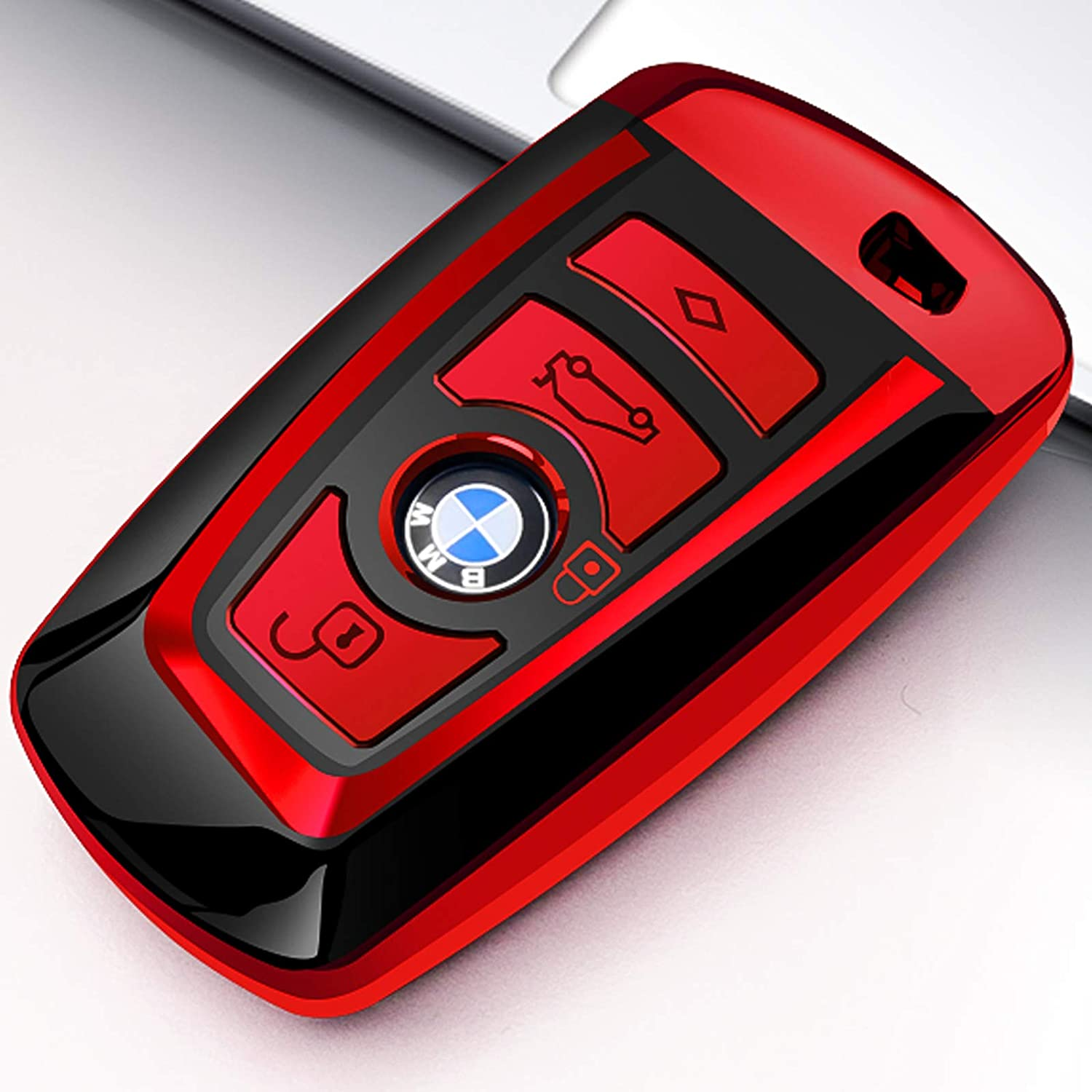 Uxinuo BMW Key Fob Cover, Key Fob Case for BMW 1 3 4 5 6 7 Series X3 X4 M5 M6 GT3 GT5 Remote Control Key Premium Soft TPU Anti-dust Full Protection, Red
