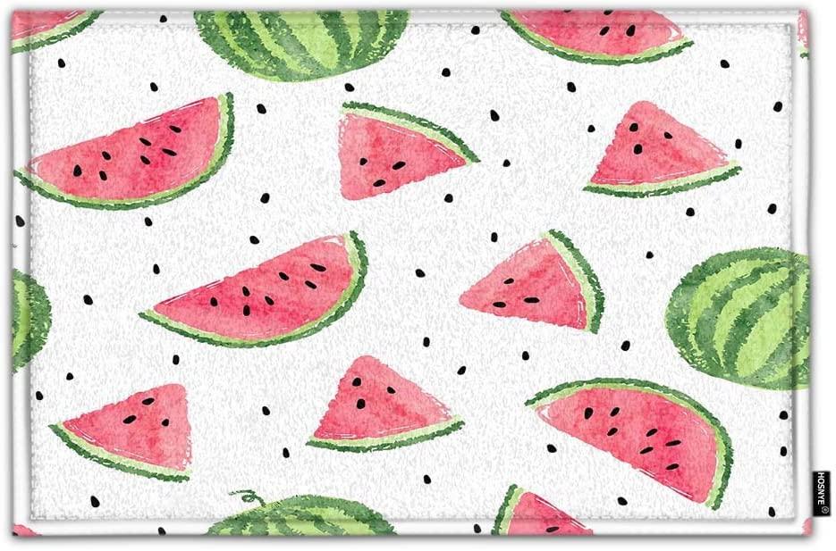 HOSNYE Watermelons Non Slip Door Mat Watercolor Seamless Home Bathroom Bath Shower Bedroom Mat Toilet Floor Door Mat