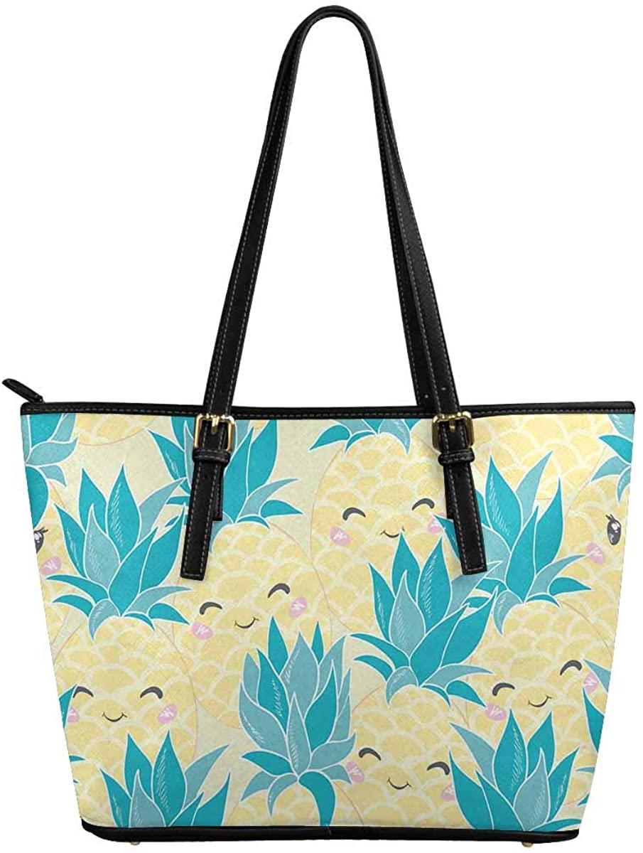 INTERESTPRINT Cute Print with Pineapples Top Handle Satchel HandBags Shoulder Bags Tote Bags Purse