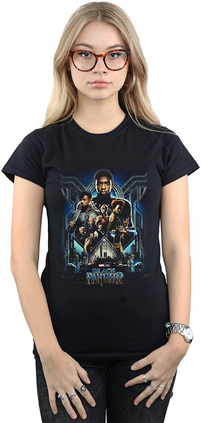 Marvel Women's Black Panther Movie Poster T-Shirt Black Large