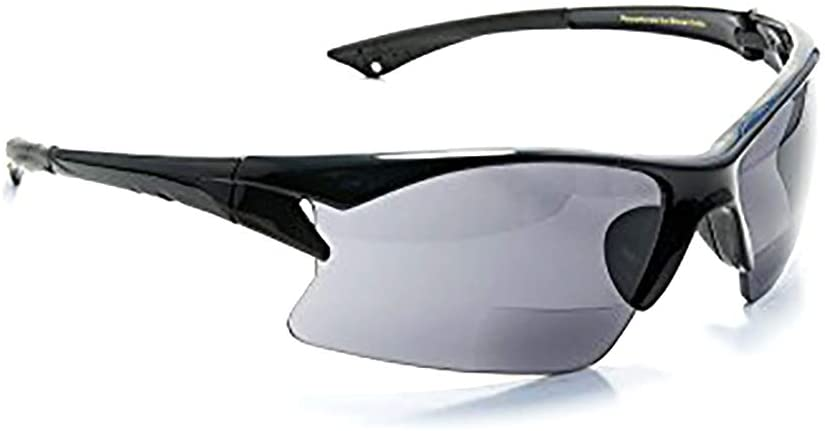 Bifocal Reading Sunglasses with Polycarbonate Lens for Sport, Cycling, Running, Fishing Men and Women Wrap-Around Magnifier Sun Readers UV 400 by FLORIDA GLASSES (Strength +3.00)