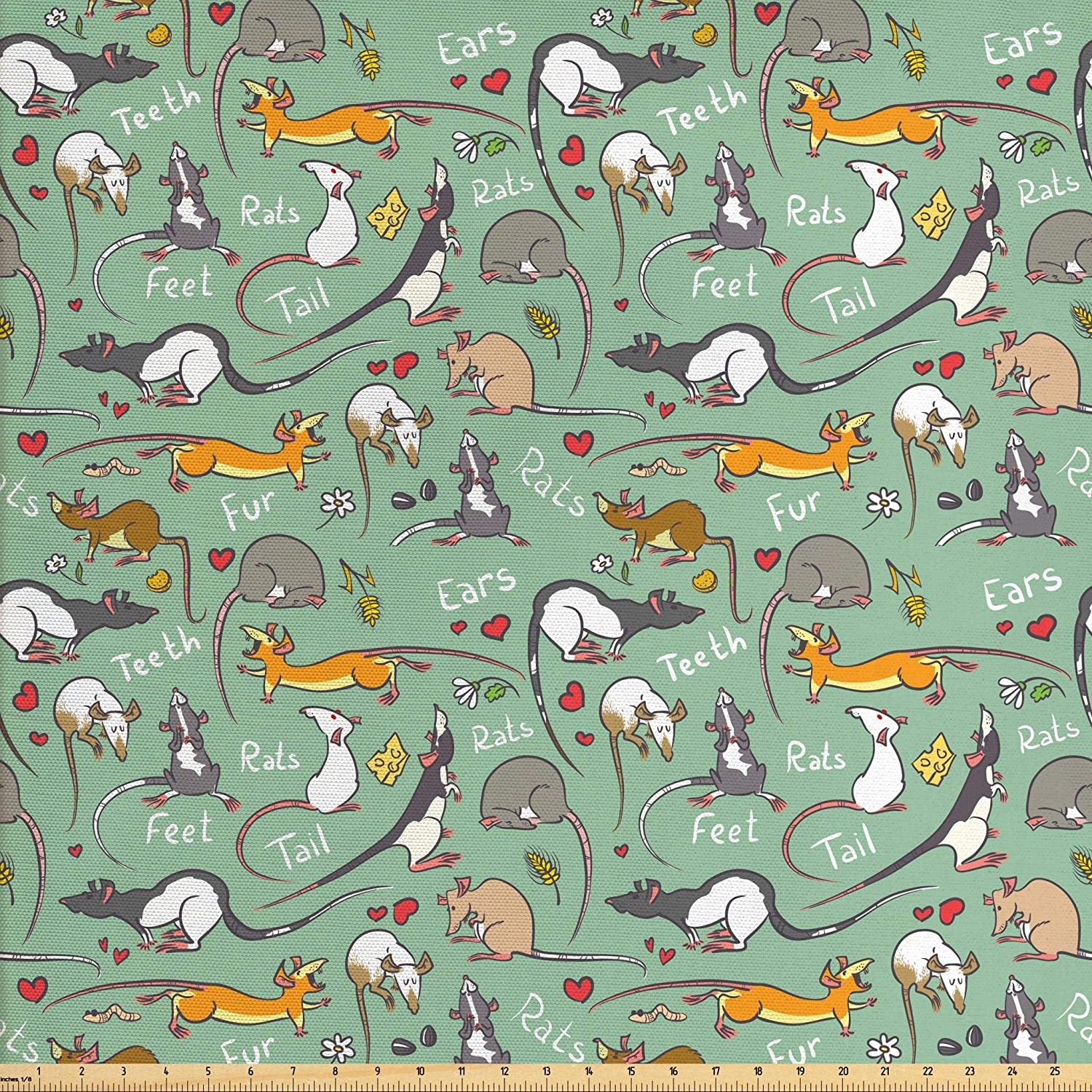 Lunarable Animals Fabric by The Yard, Cartoon Rats with Hearts Tail Teeth Feet and Ears Lettering Urban Wildlife, Decorative Fabric for Upholstery and Home Accents, 2 Yards, Dark Seafoam