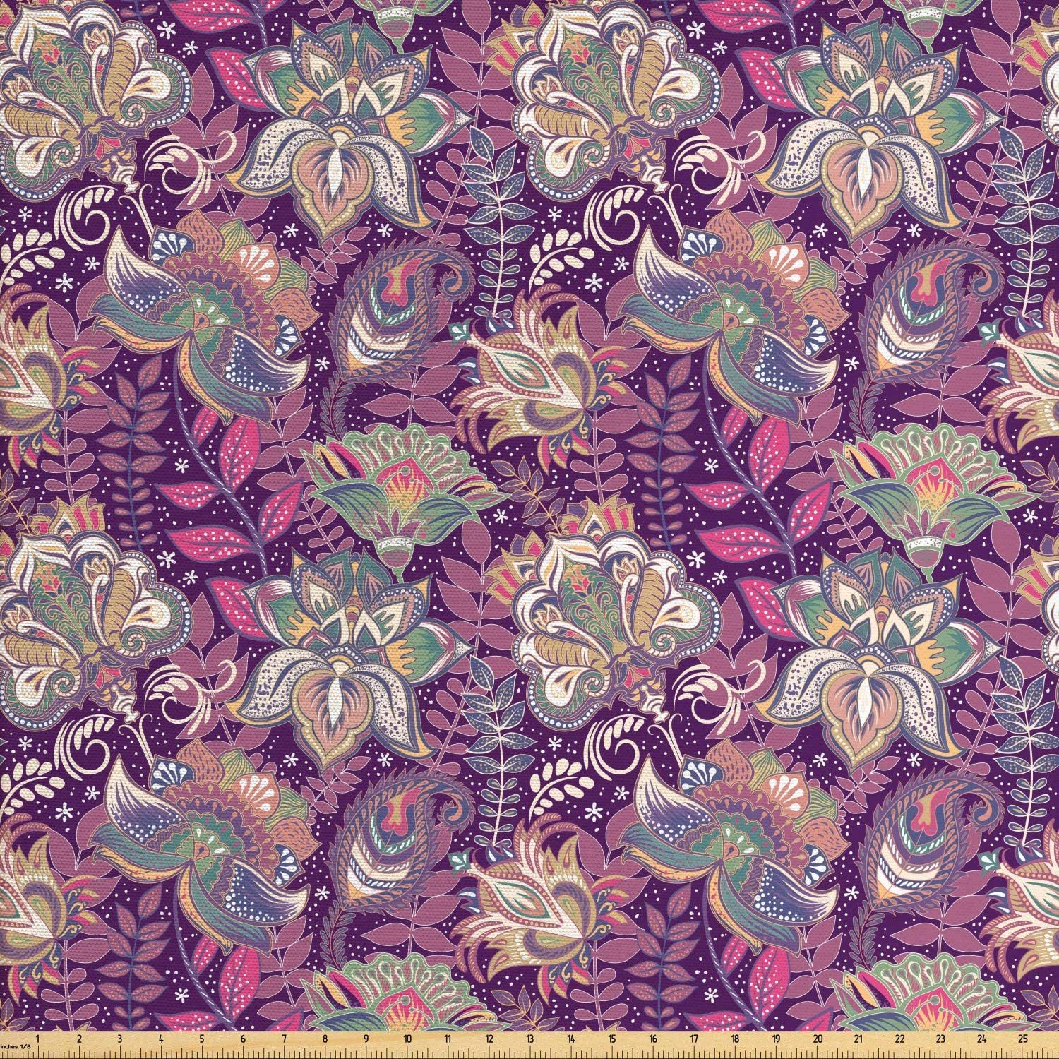 Ambesonne Floral Fabric by The Yard, Vibrant Flowers with Mehndi Style Romantic Ornamental Petals Paisley Design, Decorative Fabric for Upholstery and Home Accents, 1 Yard, Mauve Green
