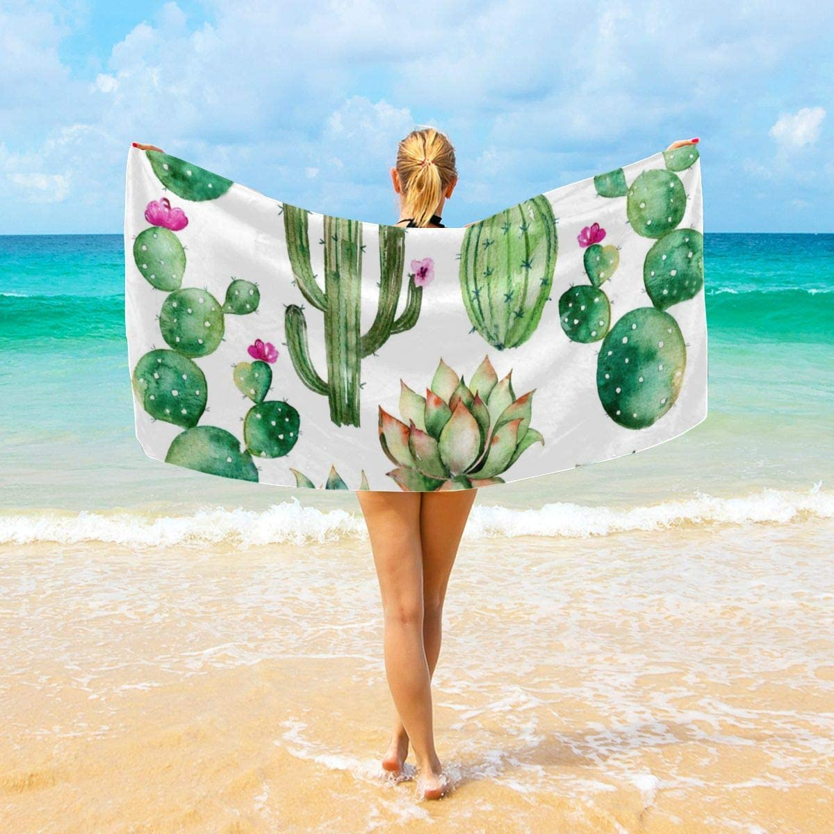 Befectar Watercolor Elements Succulent Plants Cactus Printing Soft Beach Towels for Bath Decorative Guest Towels Hand Towels for Bathroom Spa Gym (32x52 in 40x70 in)