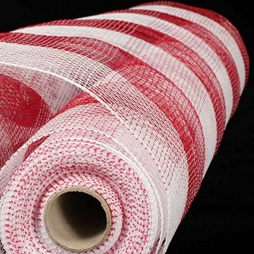 Red and White Checkered Pattern Deco Mesh Craft Ribbon 21