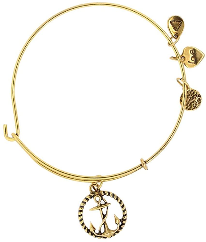 Gem Stone King Anchor Yellow Gold Color Bracelet with Small Pendants