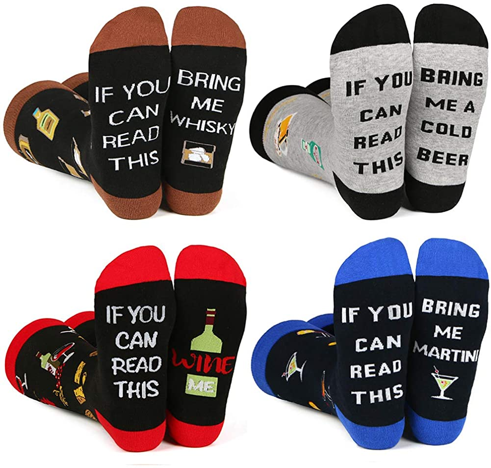 If You Can Read This Funny Socks for Men Women,Fun Saying Socks,Cool Novelty Pizza Sushi Taco Bacon Socks,Gaming Socks