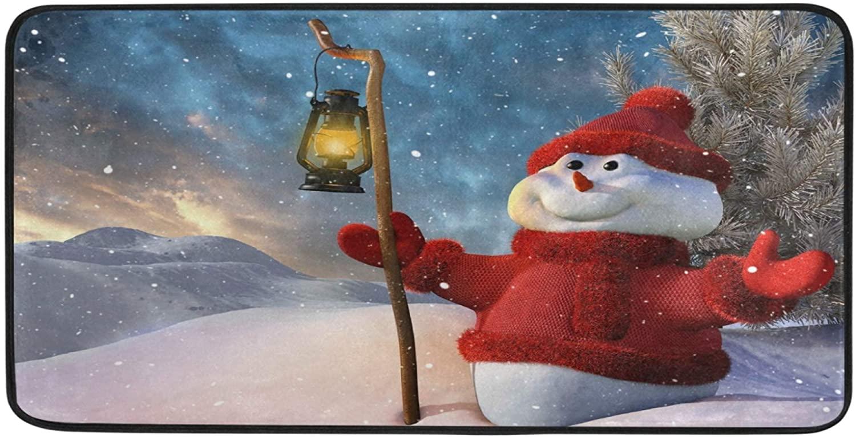 STAYTOP Winter Christmas Snowman Kitchen Rugs Kitchen Mats Polyester Non Slip Washable Cushioned Mats Antifatigue Comfort Floor Mat Doormat for Kitchen Washroom Bedroom 39 x 20 inch